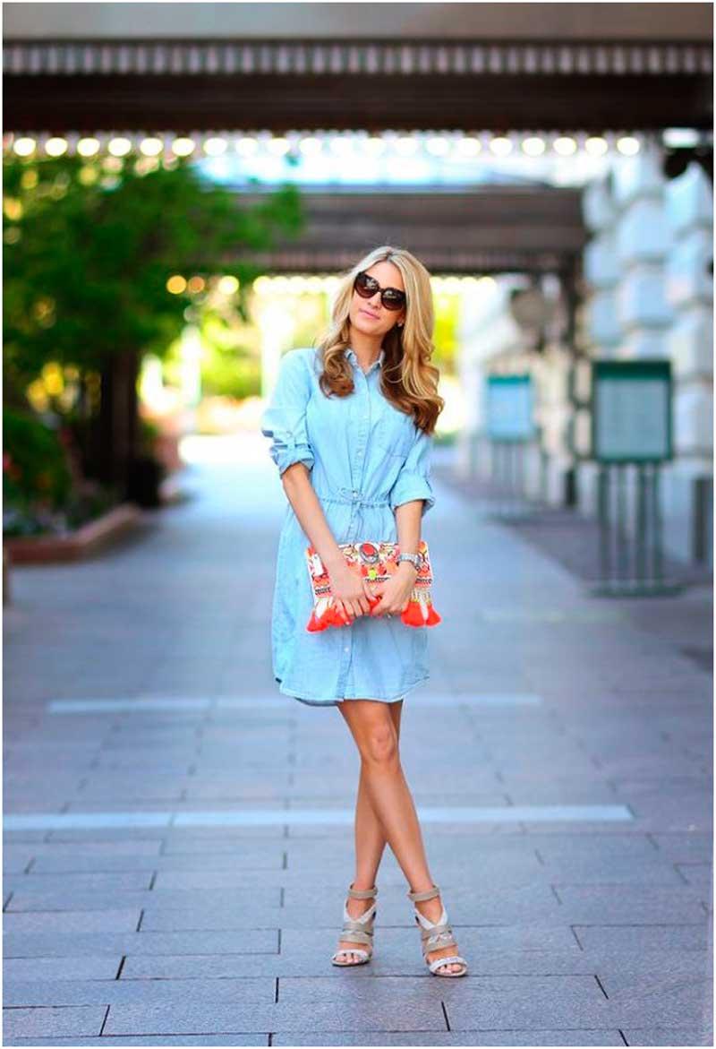 С-чем-носить-джинсовое-платье-рубашку