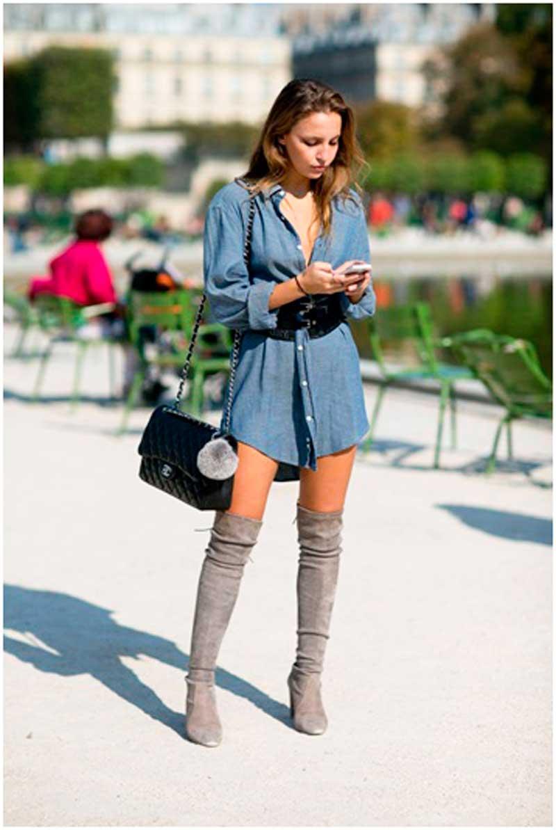 С-чем-носить-джинсовое-платье-рубашку1